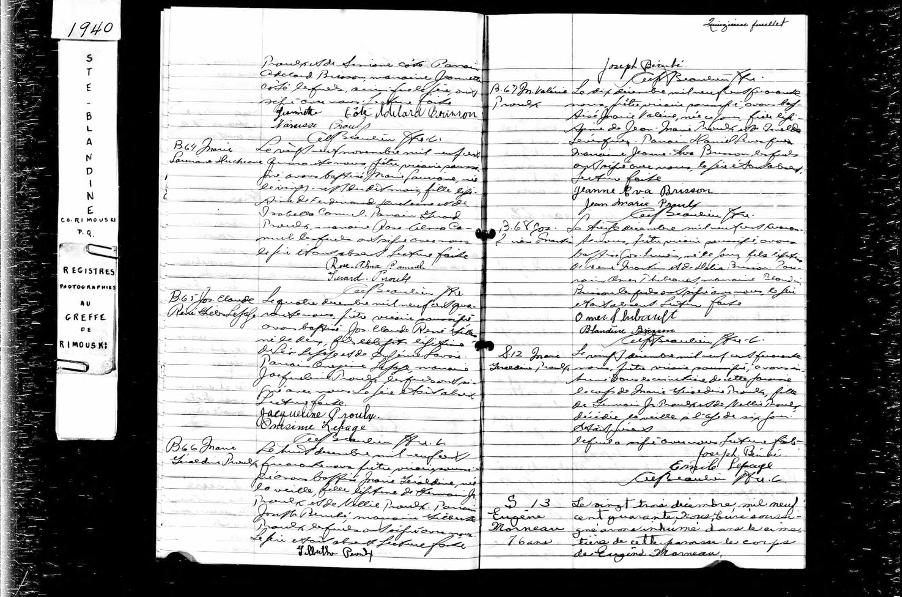 Acte de décès de Eugène Morneau, 1940, (Page 1 de 2)